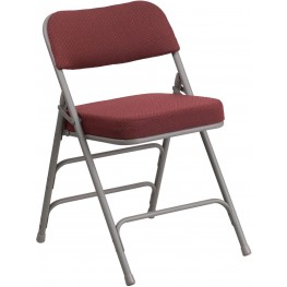 HERCULES Series Premium Burgundy Fabric Upholstered Metal Folding Chair