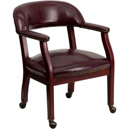 Oxblood Vinyl Conference Chair With Casters (Min Order Qty Required)