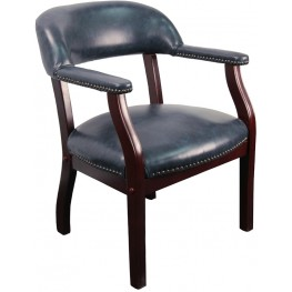 Navy Vinyl Conference Chair
