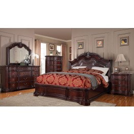 Rich Mahogany Upholstered Panel Bedroom Set