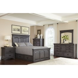 Brushed Gray Mahogany Storage Bedroom Set