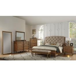 Distressed Blonde Upholstered Sleigh Bedroom Set