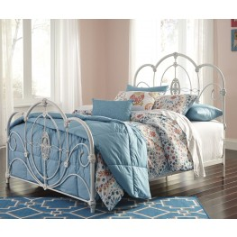 Loriday Aged White Full Metal Bed