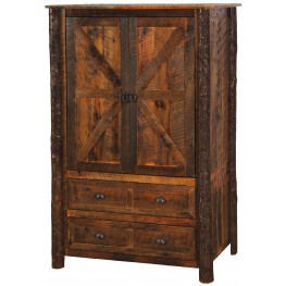 Premium Barnwood 2 Drawer Wardrobe With Hanging Rod & Hickory Legs -