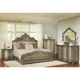 Seville Translucent Platinum Upholstered Panel Bedroom Set