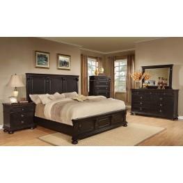 Rivington Hall Antique Black Panel Bedroom Set