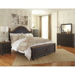Maxington Black and Reddish Brown Panel Storage Bedroom Set