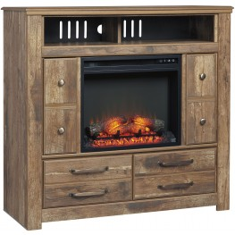 Blaneville Brown Media Chest With Fireplace