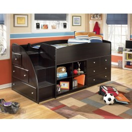 Embrace Twin Left Storage Steps Loft Bed with Shelves & Drawers