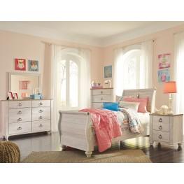 Willowton Whitewash Youth Sleigh Bedroom Set