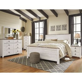 Willowton Whitewash Panel Bedroom Set