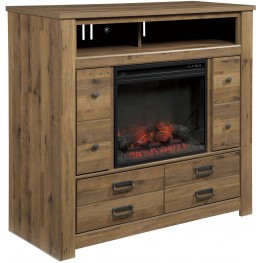 Cinrey Media Chest With Glass/Stone Fireplace Insert
