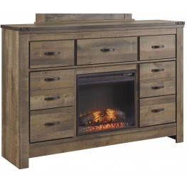 Trinell Brown Dresser With Glass/Stone Fireplace Insert