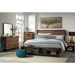 Stavani Black and Brown Panel Storage Bedroom Set