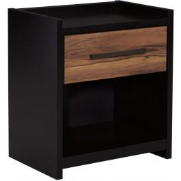 Stavani Black and Brown 1 Drawer Nightstand