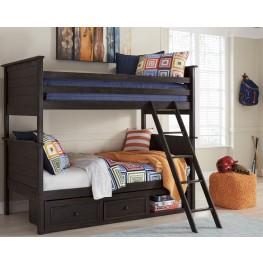 Jaysom Black Twin Over Twin Storage Bunk Bed
