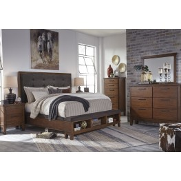 Ralene Dark Brown Upholstered Storage Bedroom Set