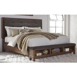 Ralene Dark Brown King Upholstered Storage Platform Bed