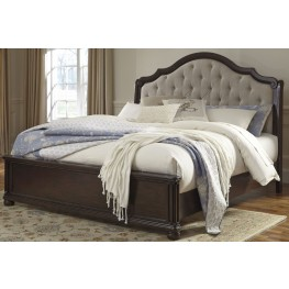 Moluxy Dark Brown King Upholstered Sleigh Bed
