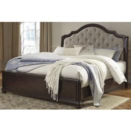 Moluxy Dark Brown Queen Upholstered Sleigh Bed