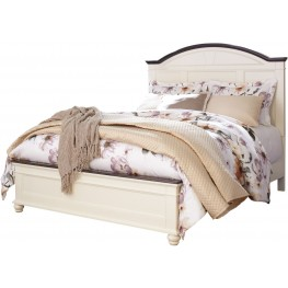 Woodanville White and Brown Queen Panel Bed