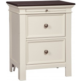 Woodanville White and Brown 2 Drawer Nightstand