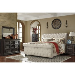 Willenburg Linen Upholstered Sleigh Bedroom Set