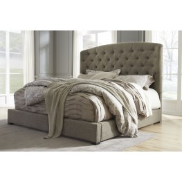 Gerlane Graphite King Upholstered Panel Bed