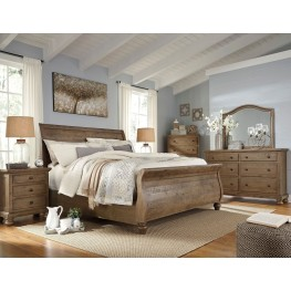 Trishley Light Brown Sleigh Bedroom Set