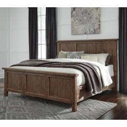 Tamilo Grayish Brown King Panel Bed