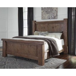 Tamilo Grayish Brown King Poster Bed