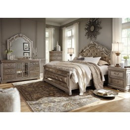 Birlanny Silver Upholstered 4 Piece Panel Bedroom Set