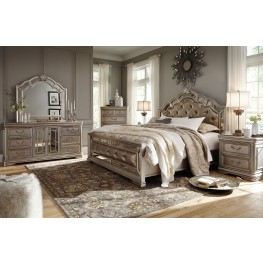 Birlanny Silver Upholstered Panel Bedroom Set