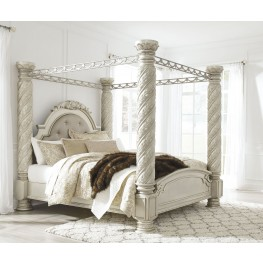 Cassimore North Shore Pearl Silver King Upholstered Poster Canopy Bed
