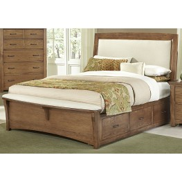 Transitions Dark Oak King Two Side Storage Upholstered Panel Bed