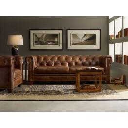 Chester Dark Walnut Leather Living Room Set