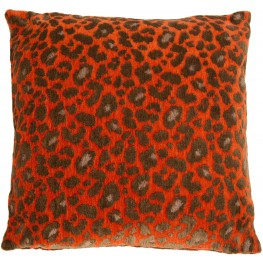 "Wild Life Persimmon 22"" Square Pillow"