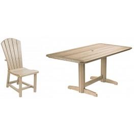 "Generations Beige 36"" Double Pedestal Dining Room Set"