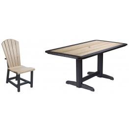 "Generations Beige/Black 36"" Double Pedestal Dining Room Set"