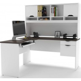 Innova White And Antigua L-Shaped Desk