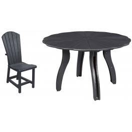 "Generations Black 52"" Scalloped Round Dining Room Set"