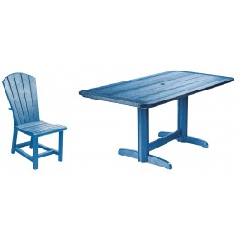 "Generations Blue 36"" Double Pedestal Dining Room Set"