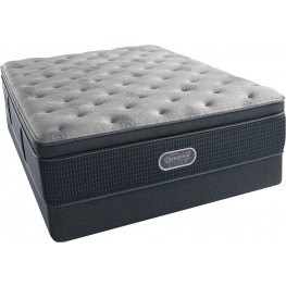Beautyrest Recharge Silver Comfort Gray Luxury Firm Super Pillow Top Cal. King Size Mattress with Foundation
