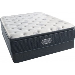 Beautyrest Recharge Silver Offshore Mist Pillow Top Plush Cal. King Size Mattress with Foundation