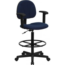 Navy Blue Patterned Multi Functional Ergonomic Drafting Stool with Arms (Adjustable Range 26''-30.5''H or 22.5''-27''H)