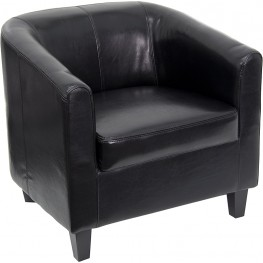 Black Leather Office Guest Chair / Reception Chair