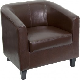 Brown Leather Office Guest Chair / Reception Chair