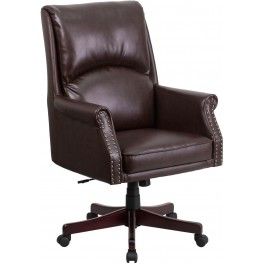 High Back Pillow Back Brown Executive Office Chair Swivel