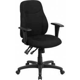 31843 Mid-Back Black Fabric Multi-Functional Ergonomic Swivel Task Chair
