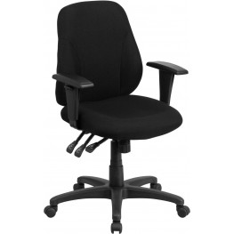 31844 Mid-Back Black Fabric Multi-Functional Ergonomic Swivel Task Chair